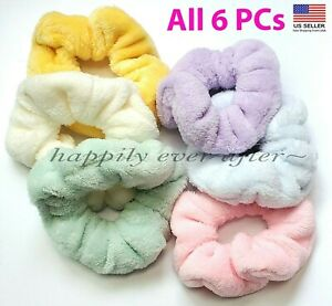 Pastel Furry Scrunchies hair tie - All 6 PCs Fluffy Scrunchies, US SELLER