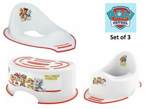 3x Pack Toddlers Paw Patrol Toilet Training Seat, Steady Potty & Step Stool 18m+