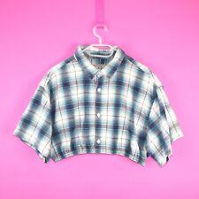 VINTAGE Crop Reworked Retro Grunge Blue White Check Tartan Flannel Shirt Top XL