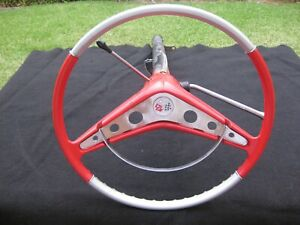 1958 CHEVROLET IMPALA BEL AIR BISCAYNE STEERING WHEEL AND AUTO COLUMN ORIGINAL