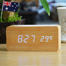 BLUE LED WOODEN 3 ALARM CLOCK / TEMPERATURE DISPLAY USB/BATTERY Bamboo Wood