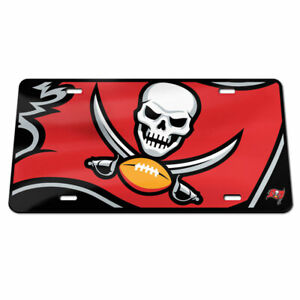 TAMPA BAY BUCCANEERS BLACK ACRYLIC LICENSE PLATE HIGH QUALITY NFL LICENSED