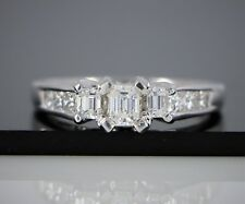 18K White Gold Three Stone Emerald Cut Princess Diamond Engagement Ring 8
