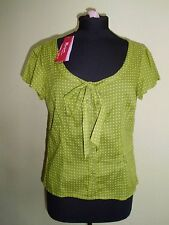 Cotton Scoop Neck Spotted Fitted Tops & Shirts for Women