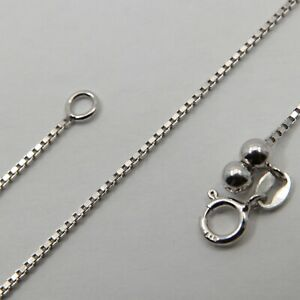 ADJUSTABLE up to 24 inch / 61 cm 1.2mm 925 STERLING SILVER Box CHAIN Rhodium #43