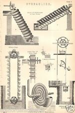 Antique Victorian Print c1880 Hydraulics Archimedes Screw Chain Pump Zurich Mach
