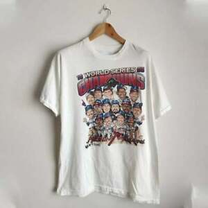 Vintage Atlanta Braves World Champi0ns Caricature 90s T Shirt White Cotton Tee