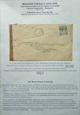 MALAYA 5 JUN 1941 WWII CENSORED COVER FROM SINGAPORE TO KINGSTON-ON-THAMES, GB
