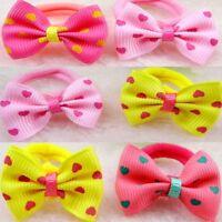 Baby Kids Printing Children Ponytail Holder Bow-knot Sweet Dot Hair Tie Rope