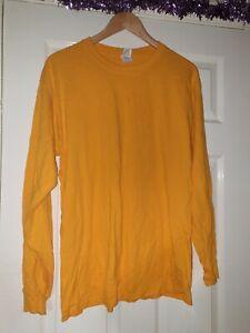 Men Orange/Yellow Long Sleeve Top Size L Gildan