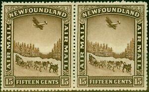 Neufundländer 1931 15c Schokolade SG195a Paar Mit & Ohne Wmk V.F MNH