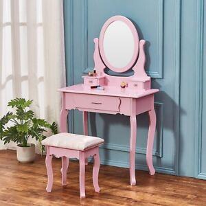 Modern Dressing Table Set Makeup Desk w/3 Drawer & Oval Mirror ,Stool Bedroom .