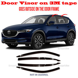 ⭐6pcs⭐ Window Door Visor Vent Shade Rain Guard fits 2017-2021 Mazda CX-5