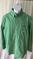 Chaps Brand Men's Dress Shirt Size S/P/CH Easy Care Long Sleeve Green & White