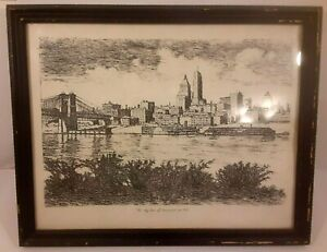 Caroline Williams Art Work Cincinnati Scene Print River boat sky line frame 1945