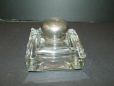 Cut Glass Inkwell 4 Channels Metal Lid Vintage