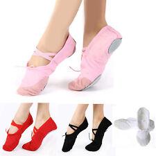 Hot Adult Child Canvas Soft Ballet Dance Slippers Pointe Gymnastics Shoes