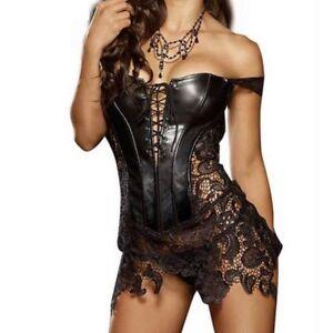 Leather Gothic Womens Lingerie Lace up Waist Cincher Shaper Corset Bustier Dress