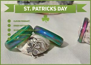 St. Patricks Day Special 2x Green Agate & Thin Colour Changing Mood Rings
