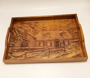 Vintage Etched Carved Wood Tray Winter Cabin Snow Pine Tree Scene House of Lloyd