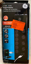 GE Premium 10 Outlet Surge Protector 2 2.1 AMP USB 10+2 3000 Joules