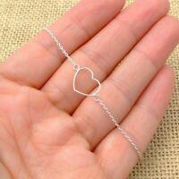 Fine 925 Sterling Silver Open Heart Chain Bracelet Jewellery