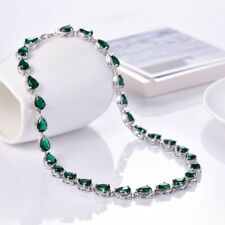 Women Green Emerald Crystal White Gold Filled Tennis Choker Chain Necklace Gift