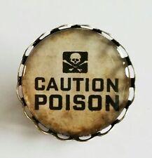 Caution Poison Label Brooch Steampunk Danger Antique Bronze Tone Gothic NEW