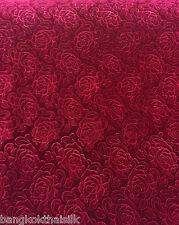 "DARK RED ROSE FLORAL 3D EMBOSS VELVET 60""W FABRIC CURTAIN DRAPE DRESS CLOTH"
