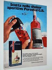 Advertising Pubblicità 1972  PERSONAL G.B. APERITIVO