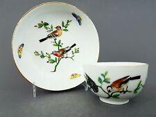 (K485) KPM Berlin Tasse mit Untertasse, bunte Vogel und Insekten Malerei,um 1800