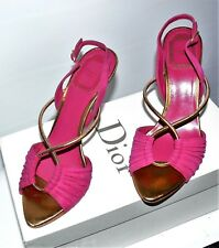 $900.00 CHRISTIAN DIOR PINK SLINGBACK SUIDE SANDALS SZ 6 MADE IN ITALY