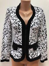 JOSEPH RIBKOFF size UK 12 - 14 Black White Flower Printed Jacket Blazer