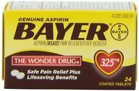 Genuine Bayer Aspirin Pain Reliver/Fever Reducer 325mg 24 Tablets Each