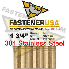 "1 3/4"" 16 Gauge 304 Stainless Steel Straight Finish Nails 16 ga (1250 ct)"