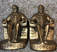 Pair Set Of Vintage ABRAHAM LINCOLN Seated Figurine Statue Bookends