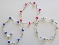 My Fun Color Anklets  Set of 3- stretchy -pink blue silver crystal beads