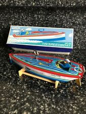 Speedboat Schylling Collector Series Fireball Tin Toy Litho Vintage Complete~Nib