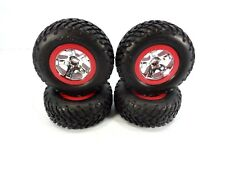 NEW TRAXXAS 2wd SLASH SET OF RED & CHROME 12mm WHEELS WITH SPEC TIRES