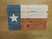 Texas Flag- recycled fence wood with distressed paint; with picket fence edge