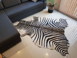 Argentinian Natural Cowhide Rug Leather Animal Skin Hair on Zebra Printed