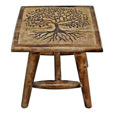 Tree of Life Hand Carved Child's Stool 25cm Home Decor Seating Solid Mango Wood