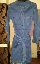 MATALAN - DENIM BUTTON THROUGH SHIRT DRESS SIZE 12 BNWOTS