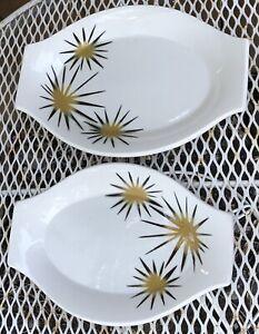 2 Jackson China Paul McCobb Starburst Platter Plate Restaurant Ware Mid Century