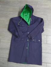 Vintage 1980s Rain Jacket PVC RAYON Reversible SMALL Hooded Coat Parka