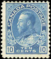 Mint H Canada 10c 1911-25 F Scott #117 King George V Admiral Issue Stamp