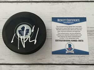 Tyler Bozak Signed Autographed Toronto Maple Leafs Hockey Puck Beckett BAS COA a
