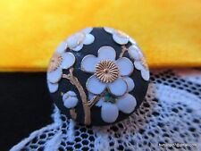 5002 –Lovely TOSHIKANE ARITA 1950's Gilt Cherry Blossoms Porcelain Button-Bouton