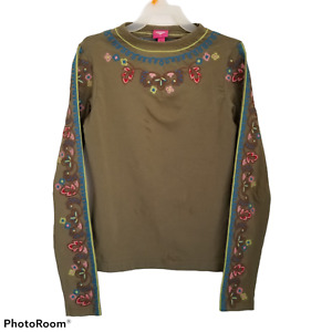 Oilily Small Top Forest Green Embroidered Long-Sleeve Tee