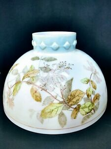 """Antique Opal White Glass Oil Lamp Student Shade Floral 10"""" fitter B&H Rayo"""